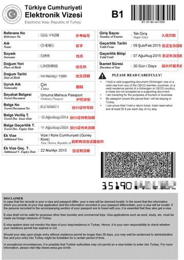 土耳其电子签证模板